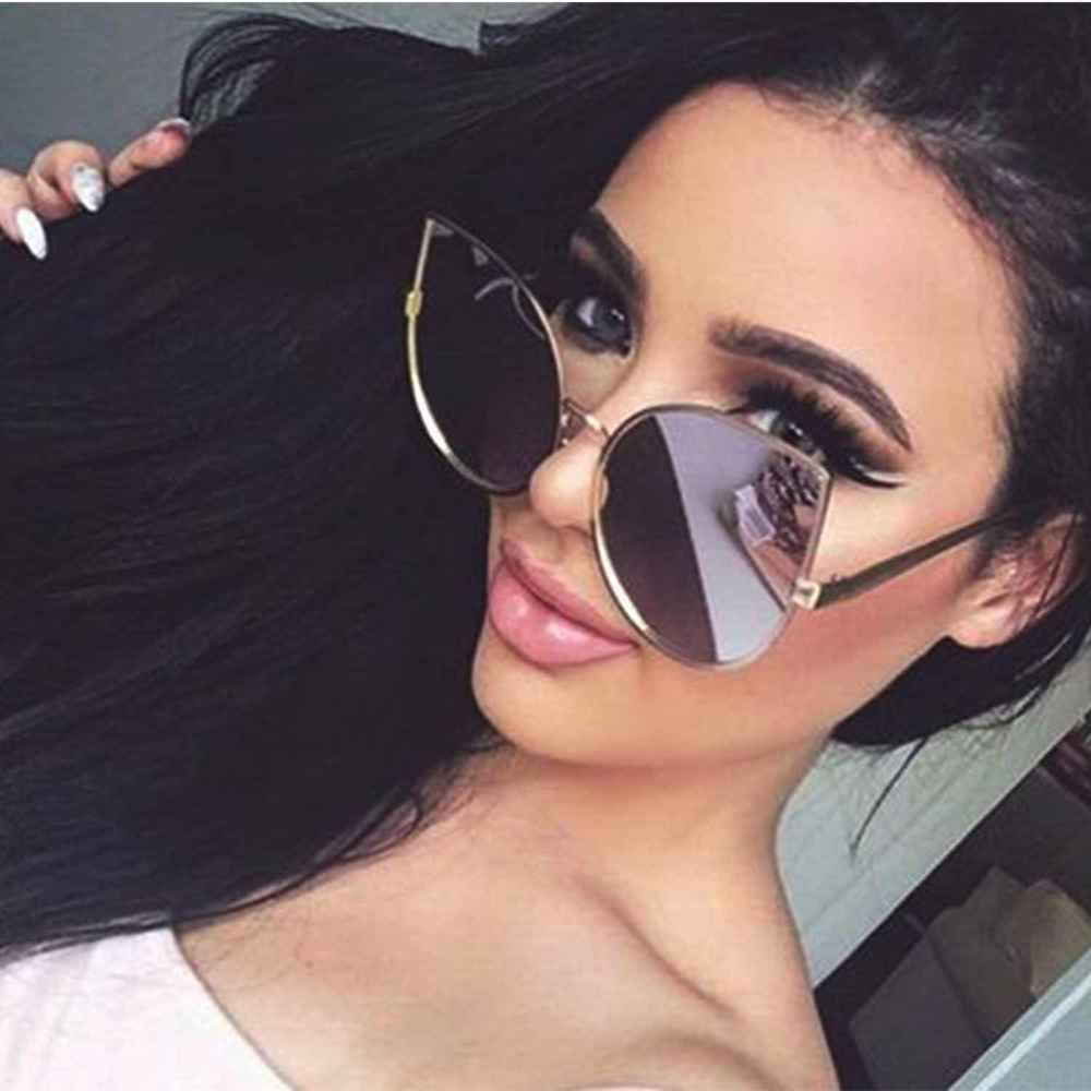 Women Cat Eye Oversized Designer Mirrored Sunglasses Large Metal ...