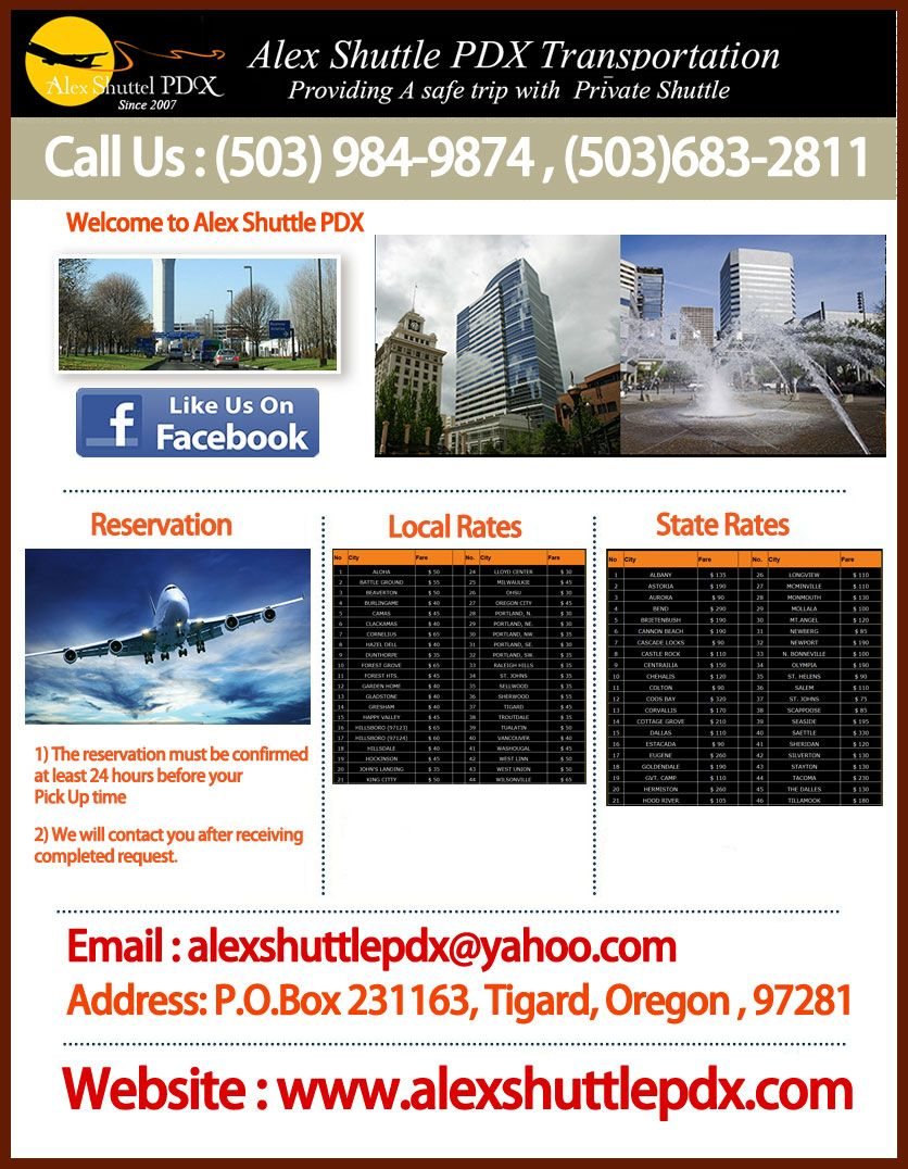 At Oregon, even though your flight was late still we can help you pick up and drop by at your concerned airport by providing our primetime shuttle service. We are very reasonable with the charges, so you need not worry about your budget.For more information visit to: http://www.alexshuttlepdx.com