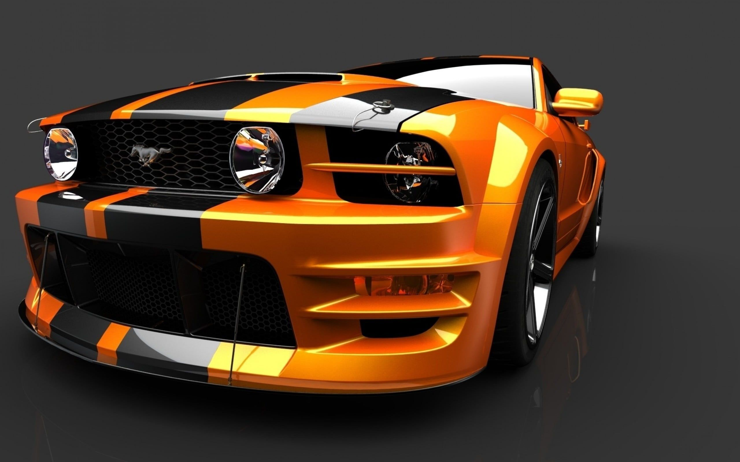 Yellow And Black Ford Mustang Ford Mustang Car 2k Wallpaper Hdwallpaper Desktop Mustang Ford Mustang Ford