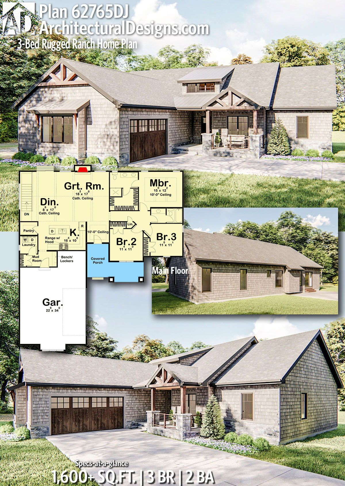 Plan 62765dj 3 Bed Rugged Ranch Home Plan Ranch House Plans Rustic House Plans House Plans