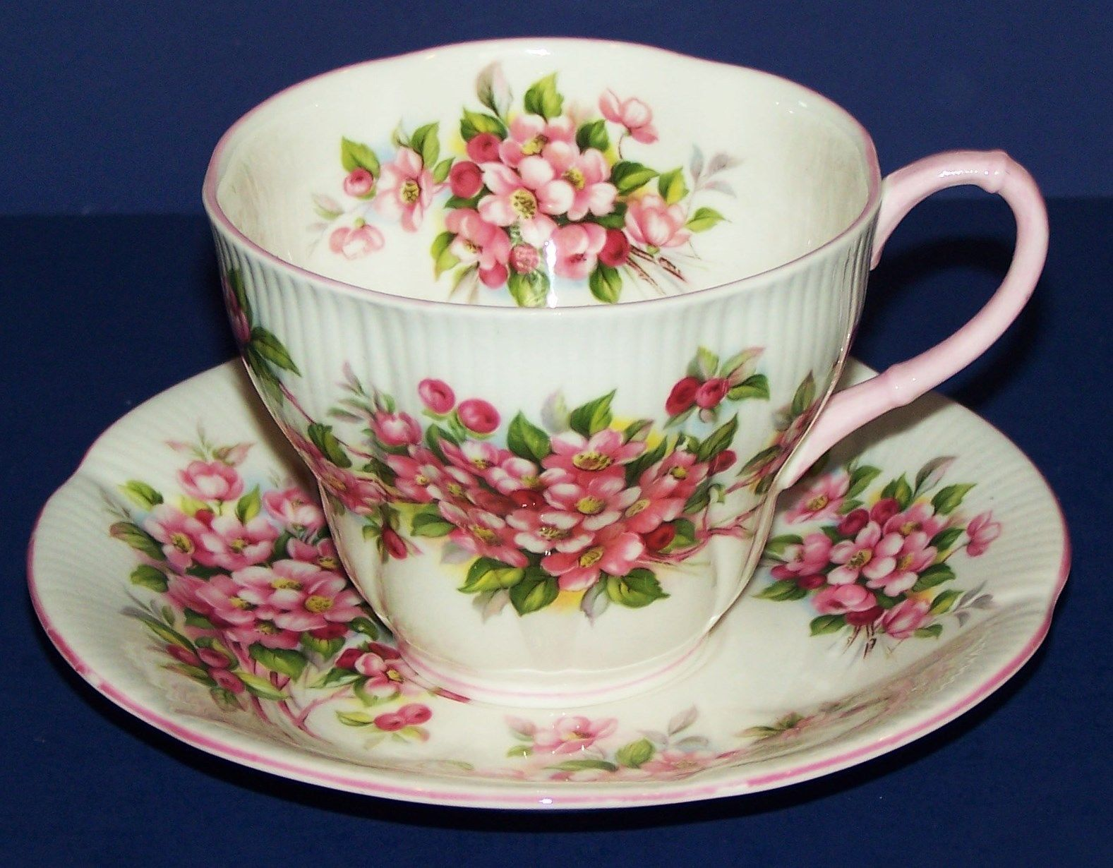 ROYAL ALBERT BLOSSOM TIME SERIES APPLE BLOSSOM TEA CUP AND SAUCER