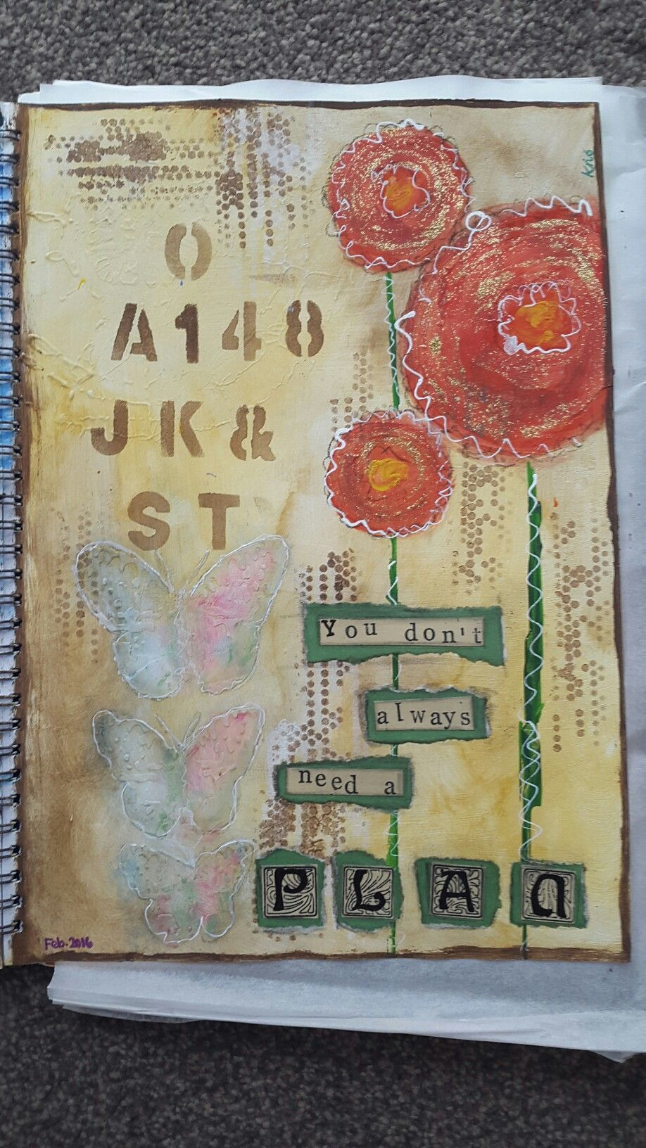 """Art Journal Page.  """"You don't always need a plan"""" something I need to take on board myself ♡"""