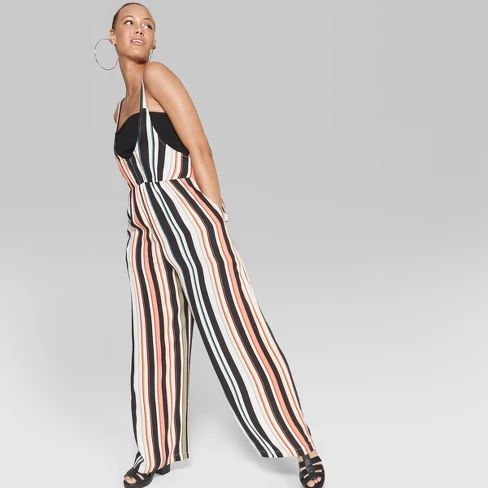7cd75d5183 Women s Striped Sleeveless Woven Jumpsuit - Wild Fable   Target ad ...