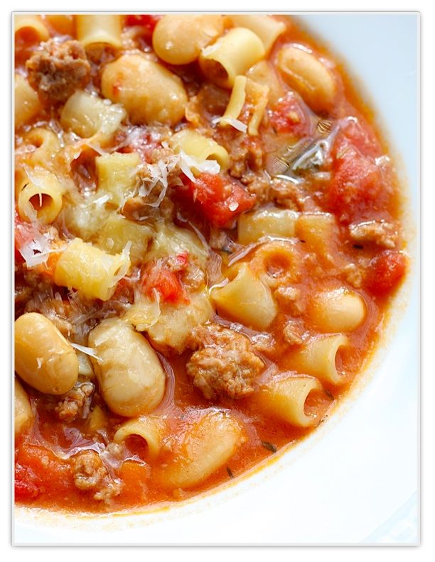 Sausage, bean, and pasta soup  (add extra veggies, use lowfat sausage, and whole wheat pasta)