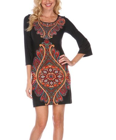 Black & Red Embellished Sarah Dress by White Mark on #zulily