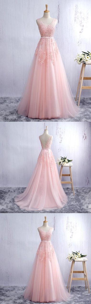 Sexy Abiballkleider/Abendkleider Träger A-Linie Kurz Train Perlen Rosa Tülle Abendkleider JKL453 #eveningdresses