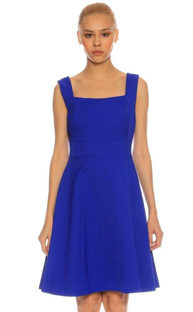 301c9712e9 Karen Millen Blue Textured Feminine Fit Flare Mini Day Party Dress 14 42  DA252  KarenMillen  FitFlareDress  Party