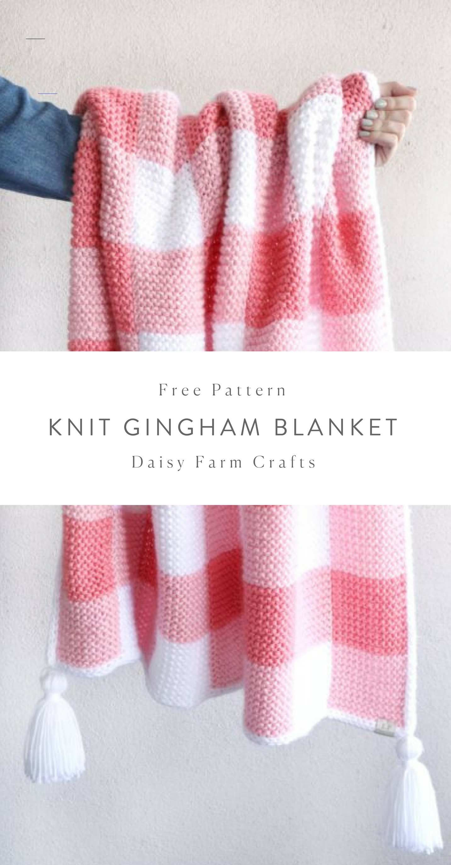 Free Pattern - Knit Gingham Blanket - #knittingprojects ...