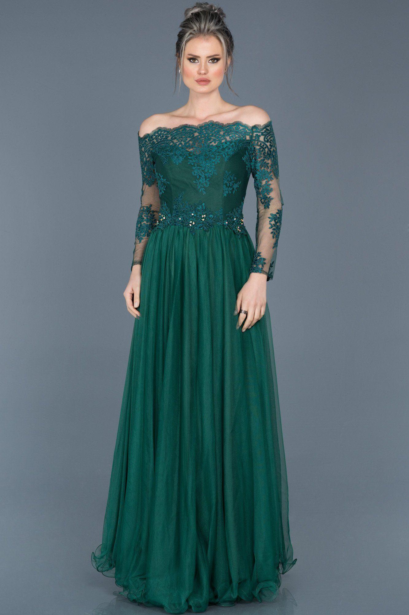 Zumrut Yesili Dantelli Uzun Kollu Abiye Abu019 Balo Elbiseleri The Dress Aksam Elbiseleri