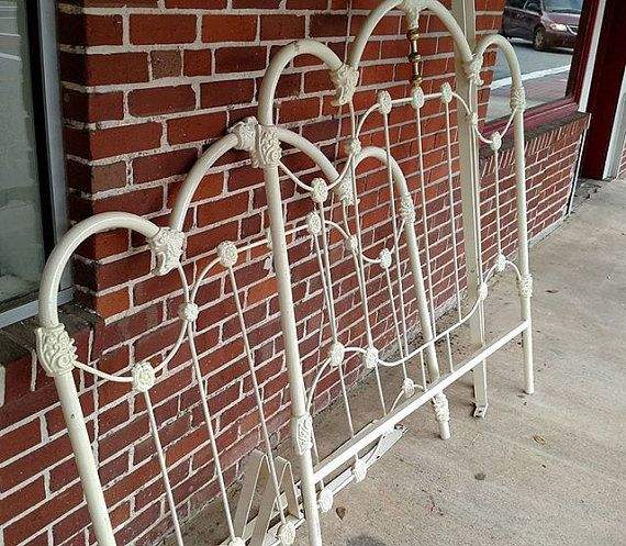 Vintage Cast Iron and Brass Full bed and Comes by furnitologist