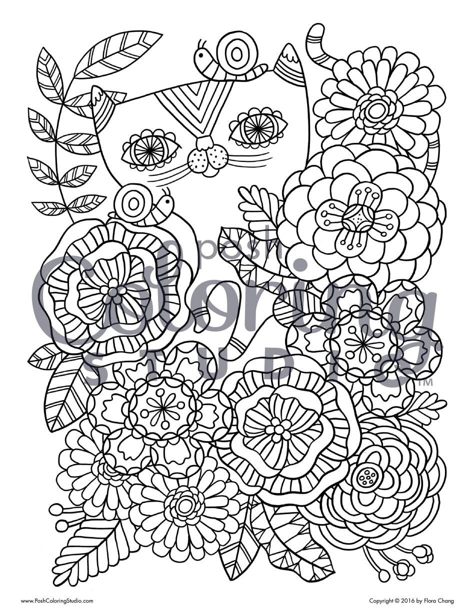 Jungle Cat Posh Coloring Studio Pages For Adults