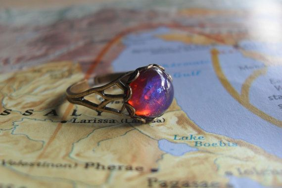 Dragons Breath glass Opal on Antiqued Brass by AstrolabeTreasure