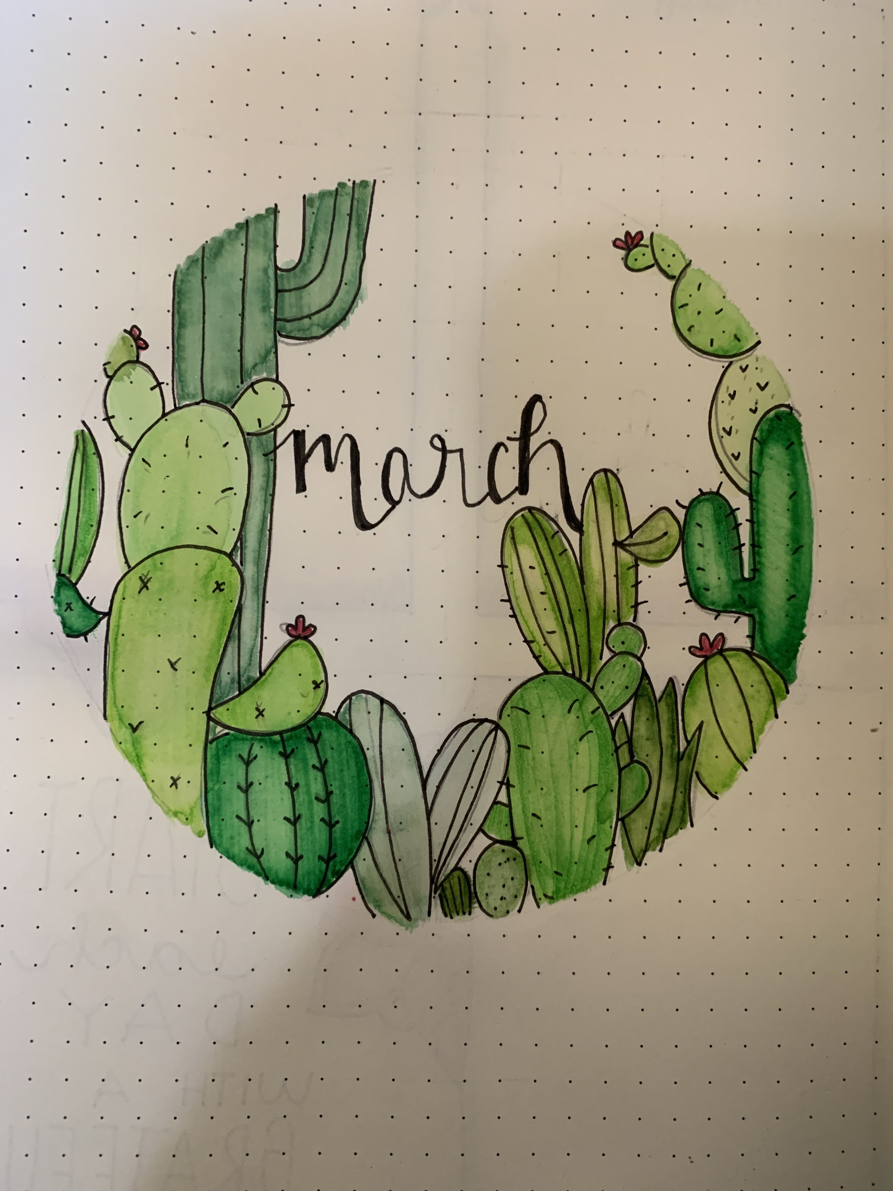 Photo of Freehanded cactus and watercolor paint. #bulletjournal #bujo #cactus #doodles #w…