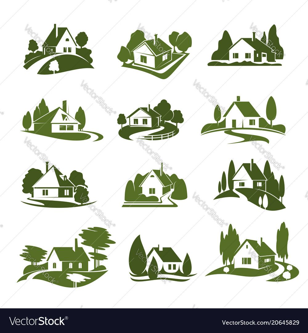 Eco green house with tree and lawn isolated icon vector
