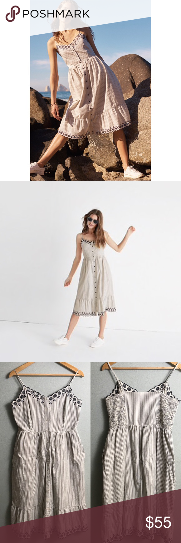 Madewell Embroidered Jardin Midi Dress Midi Dress Feminine Dress Dresses [ 1740 x 580 Pixel ]