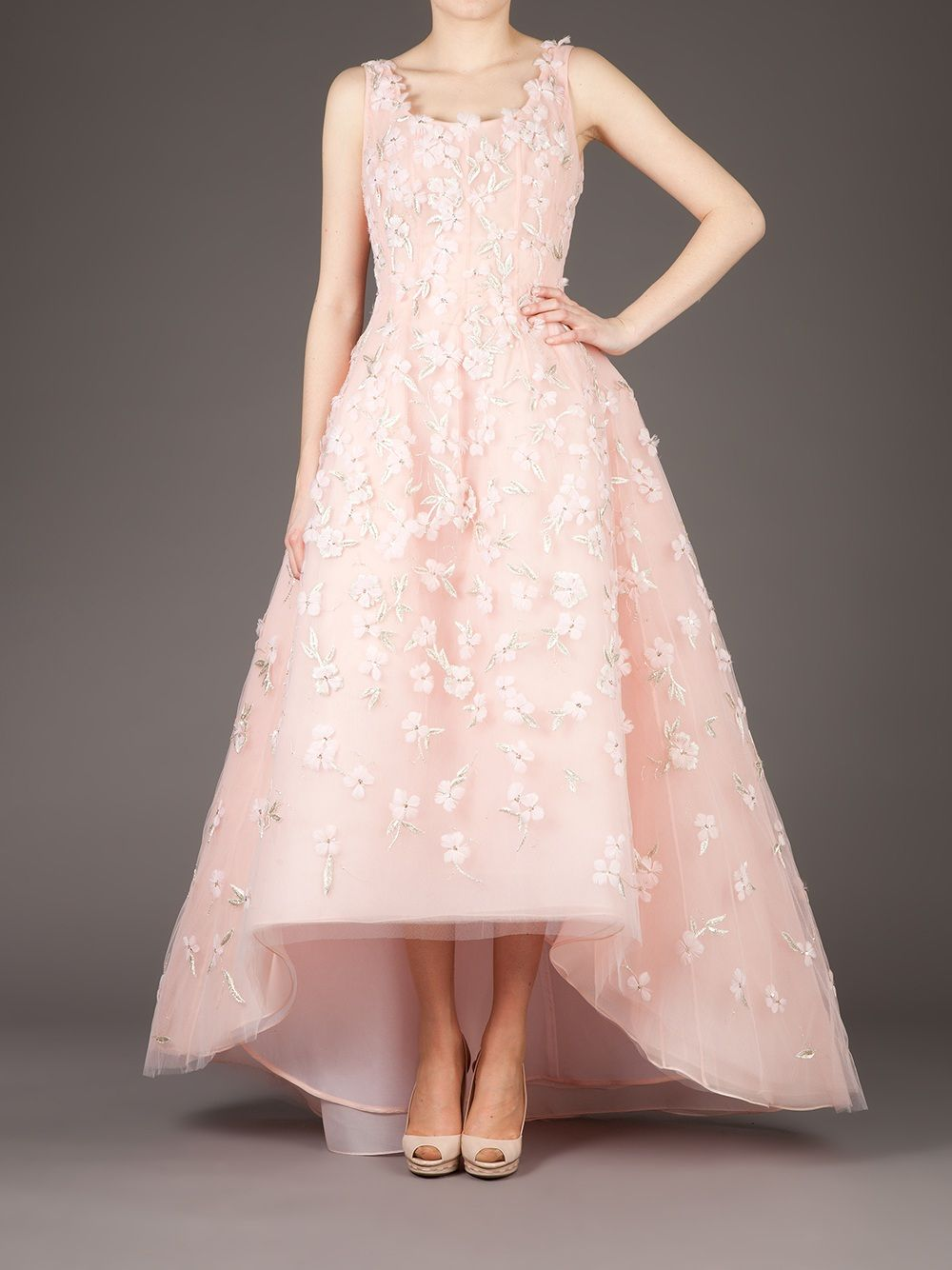 Oscar De La Renta Floral Embellished Evening Gown In Pink Floral