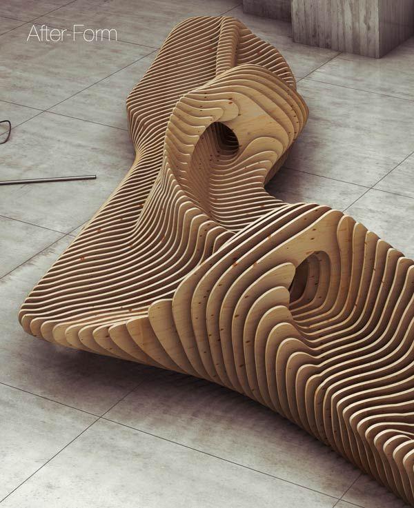 Parametric Bench - Interior Design by Oleg Soroko >en bro som et møbel, organisk forbindelse til naturen og mellem de to dele af byen, playfull, små rum til opdagelse eller ophold<