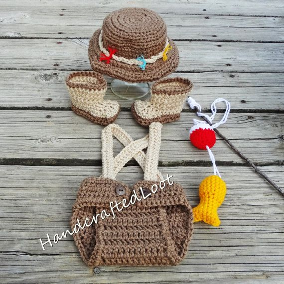 Handmade Crochet Newborn - 3 Months Baby Fisherman Photo Prop Outfit Diaper  Cover 835629966498