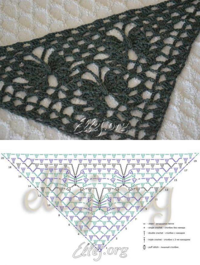 La cinta para el chal las mariposas De luna | Crochet by Ellej | la ...