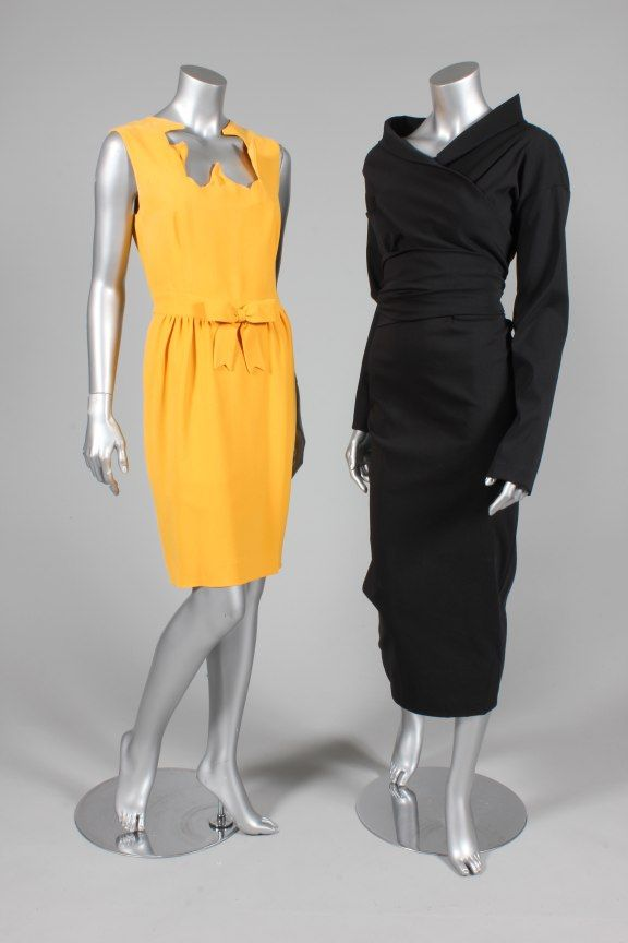 Romeo Gigli black stretch wool/lycra dress, 1990s, with wrap around bodice ties ; together with a Moschino mustard crepe cocktail dress with wired neckline