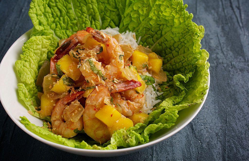 Dinner in 30 minutes spicy mango shrimp main dish