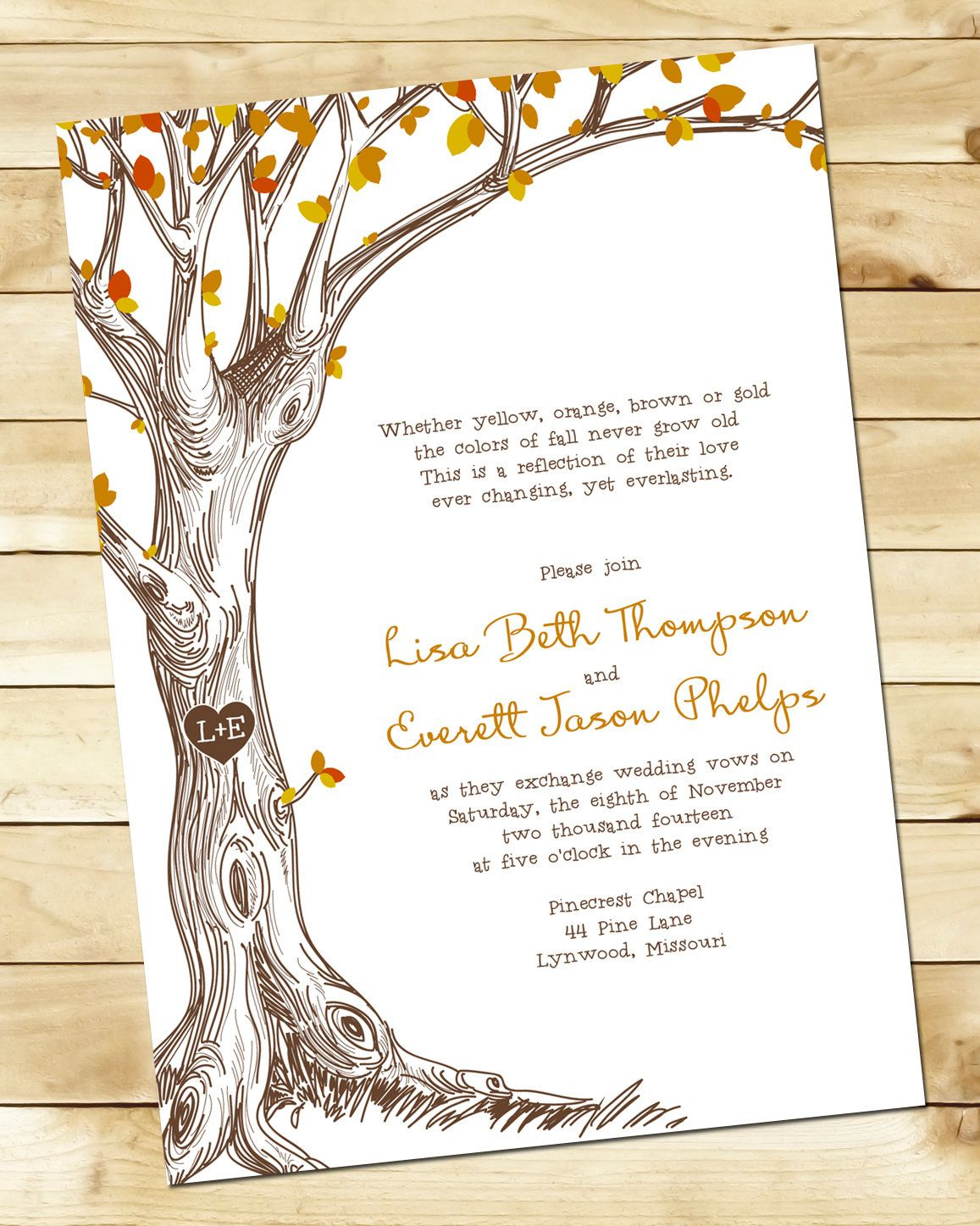 Fall Tree Wedding Invitation @Lauren Hatch | \