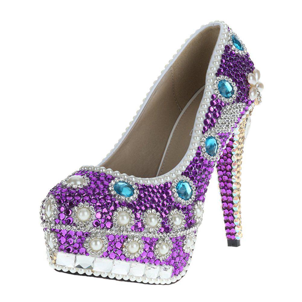 Purple dress with shoes  VELCANS Purple Rhinestone Wedding Heels for BridalBridesmaid and