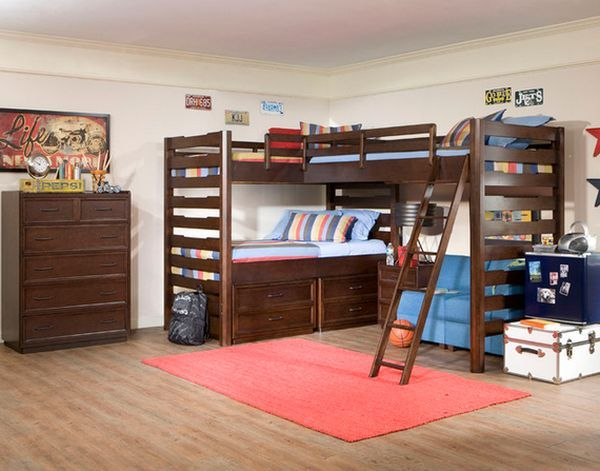 Saving Space And Staying Stylish With Triple Bunk Beds Corner Loft Beds Cool Bunk Beds Bunk Bed Designs