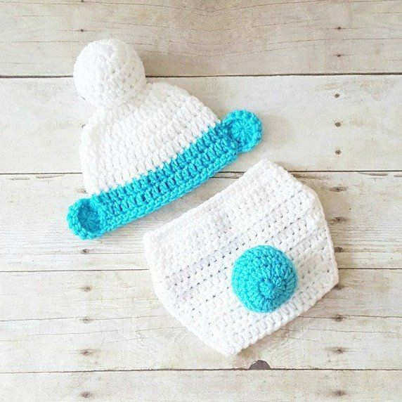 Crochet Baby Smurfs Hat Beanie Diaper Cover Set Infant Newborn Baby ...
