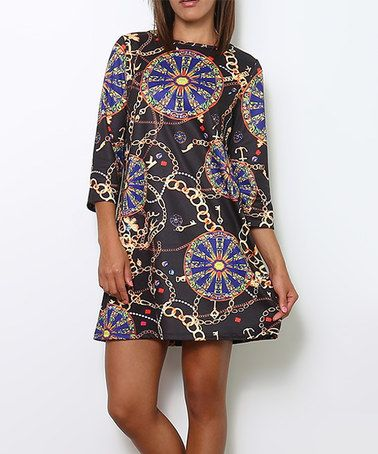 Loving this Multi-Black & Navy Chain Kaleidoscopic Tunic on #zulily! #zulilyfinds