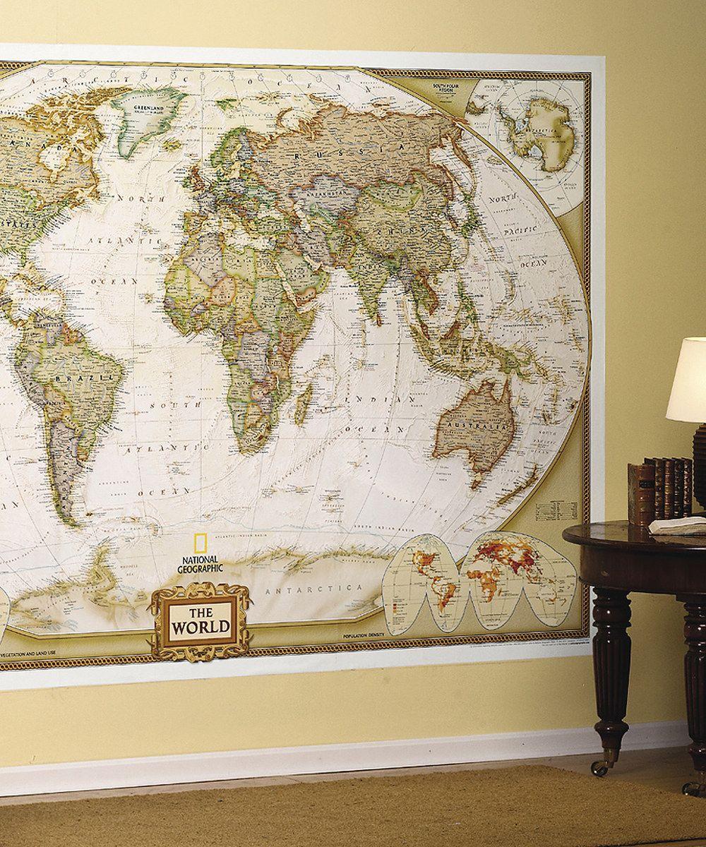 Pour dcorer un salon un bureau une tte de lit une chambre d national geographic world executive mural map gumiabroncs Image collections