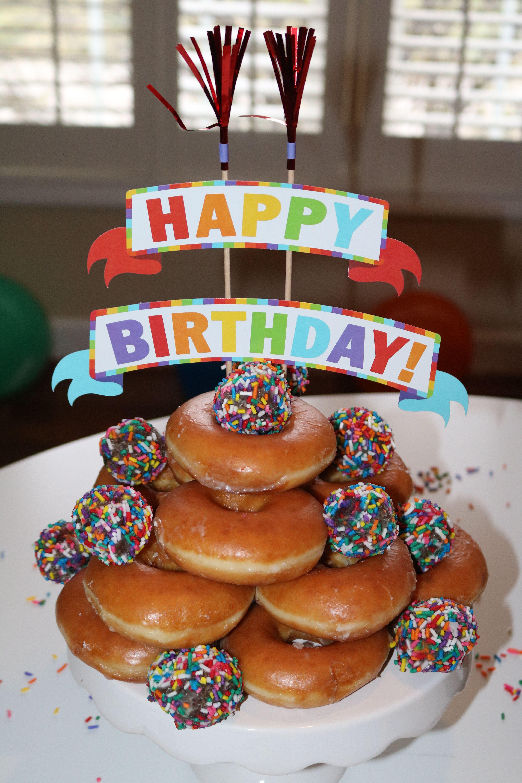 Donut Cake Birthday Cakes Holes Krispy Kreme Alternatives To Party City