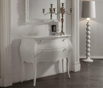 commode d 39 entr e design 2 tiroirs blandine coloris blanc laqu poign es swarovski meubles d. Black Bedroom Furniture Sets. Home Design Ideas