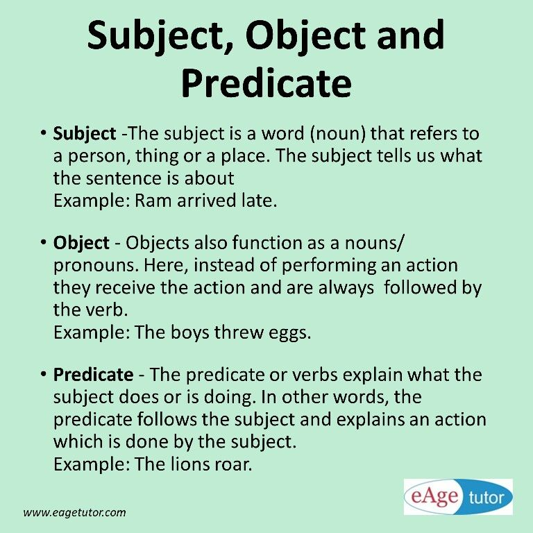 Subject, Object, predicate Kids Education Pinterest Grammar - individual action plan template