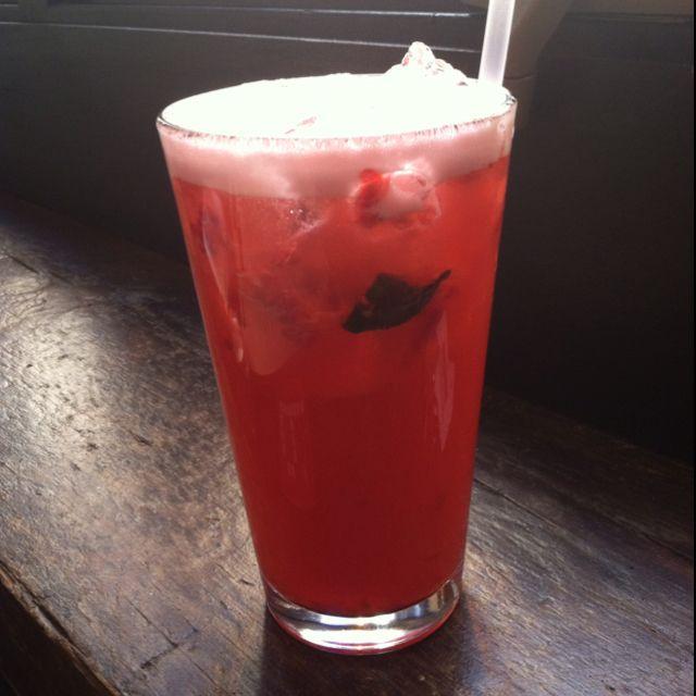 Raspberry Thai Basil Infused Lemonade at Square Peg