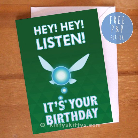 Legend Of Zelda Navi Hey Listen Geeky Birthday Greetings Card