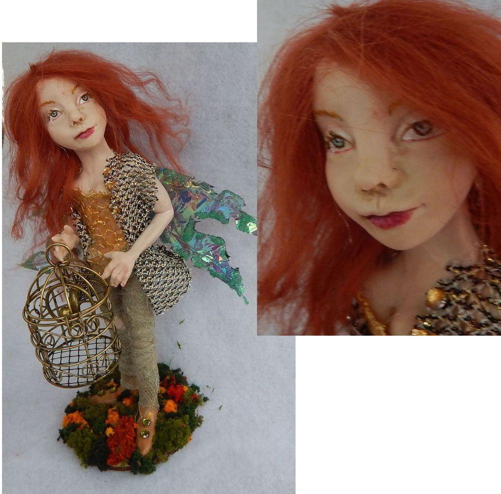 Libby OOAK Fairy w/ Bird Cage Fairies Art Doll Sculpture Polymer Clay Fantasy  #Handmade