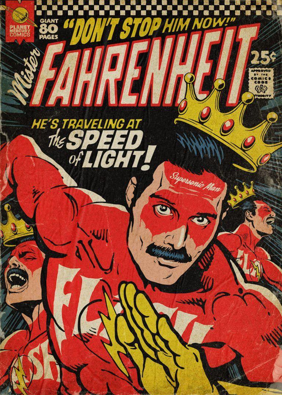 Il Transforme Les Plus Celebres Titres De Queen En Couvertures De Comics Vintages Bande Dessinee Vintage Bandes Dessinees Vintage Couvertures Comic