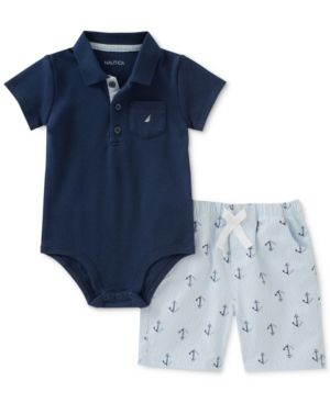 66acd28c449f Nautica 2-Pc. Polo Bodysuit & Printed Shorts Set, Baby Boys - Blue 24 months