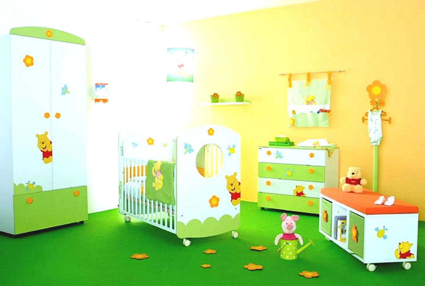 Modern Baby Boy Nursery With White Drawers And Mini Sofa Set And ...