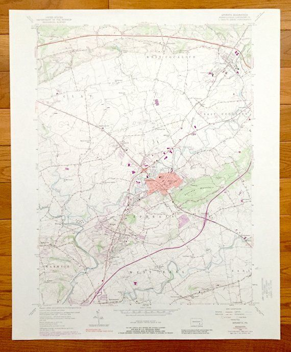 Antique Ephrata Pennsylvania 1956 Us Geological Survey Topographic