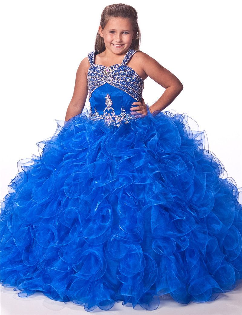 Click to buy ucuc royal blue red scoop sequins ball gown flower