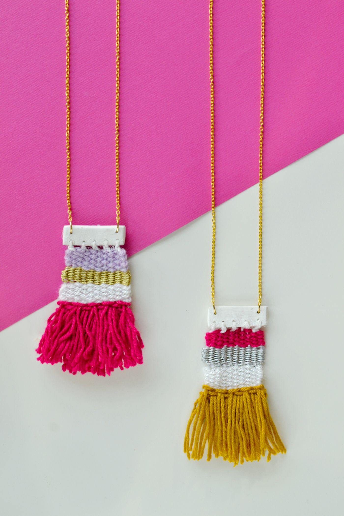 diy woven necklace for diys | diys, craft and macrame