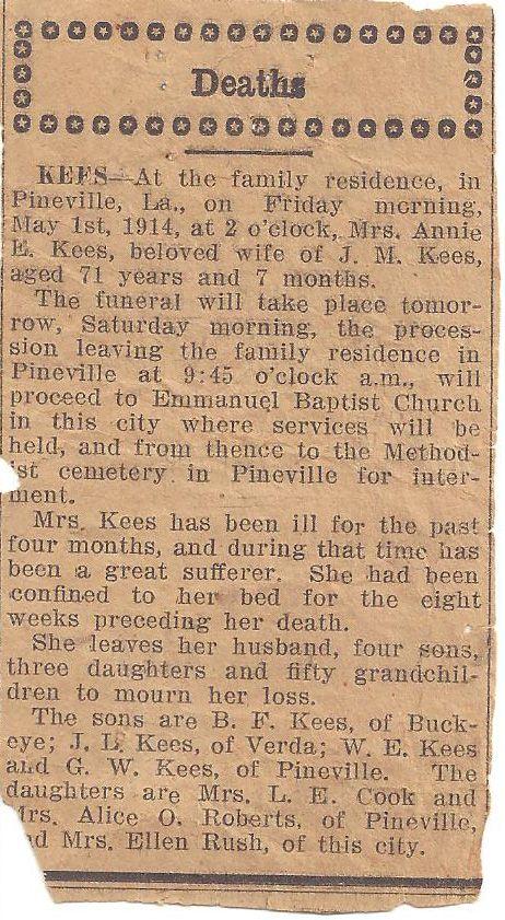 obituary of Nannie Ellen Kees