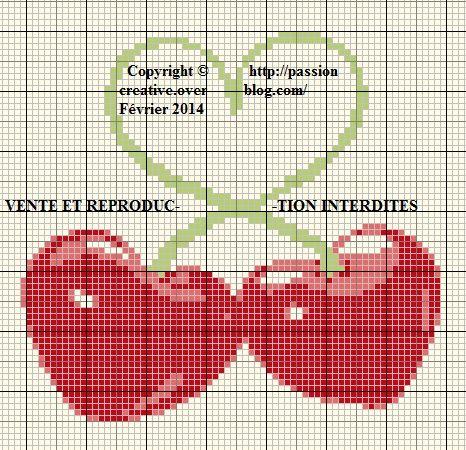 Grille gratuite point de croix coeur cerise cerises grille et gratuit - Grille point de croix gratuite coeur ...