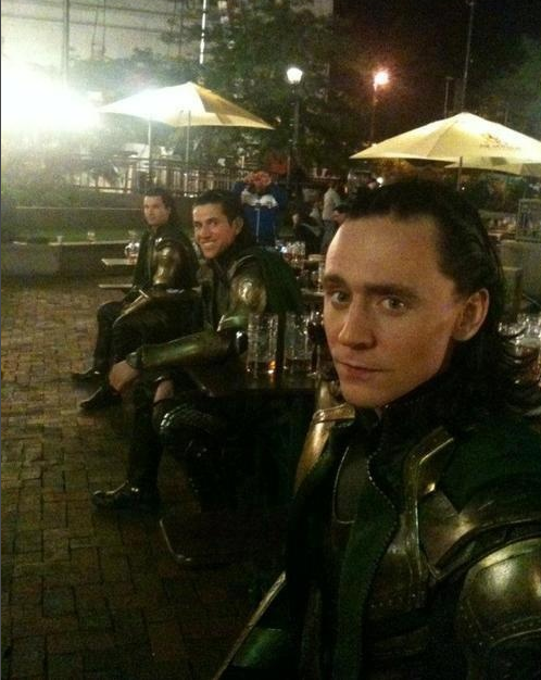 "Tom Hiddleston and his other ""Lokis"" on the set of Marvel's The Avengers"
