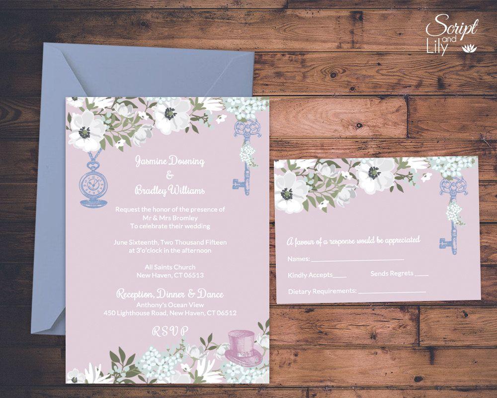Alice in Wonderland Wedding Invitation Template  FREE Response C
