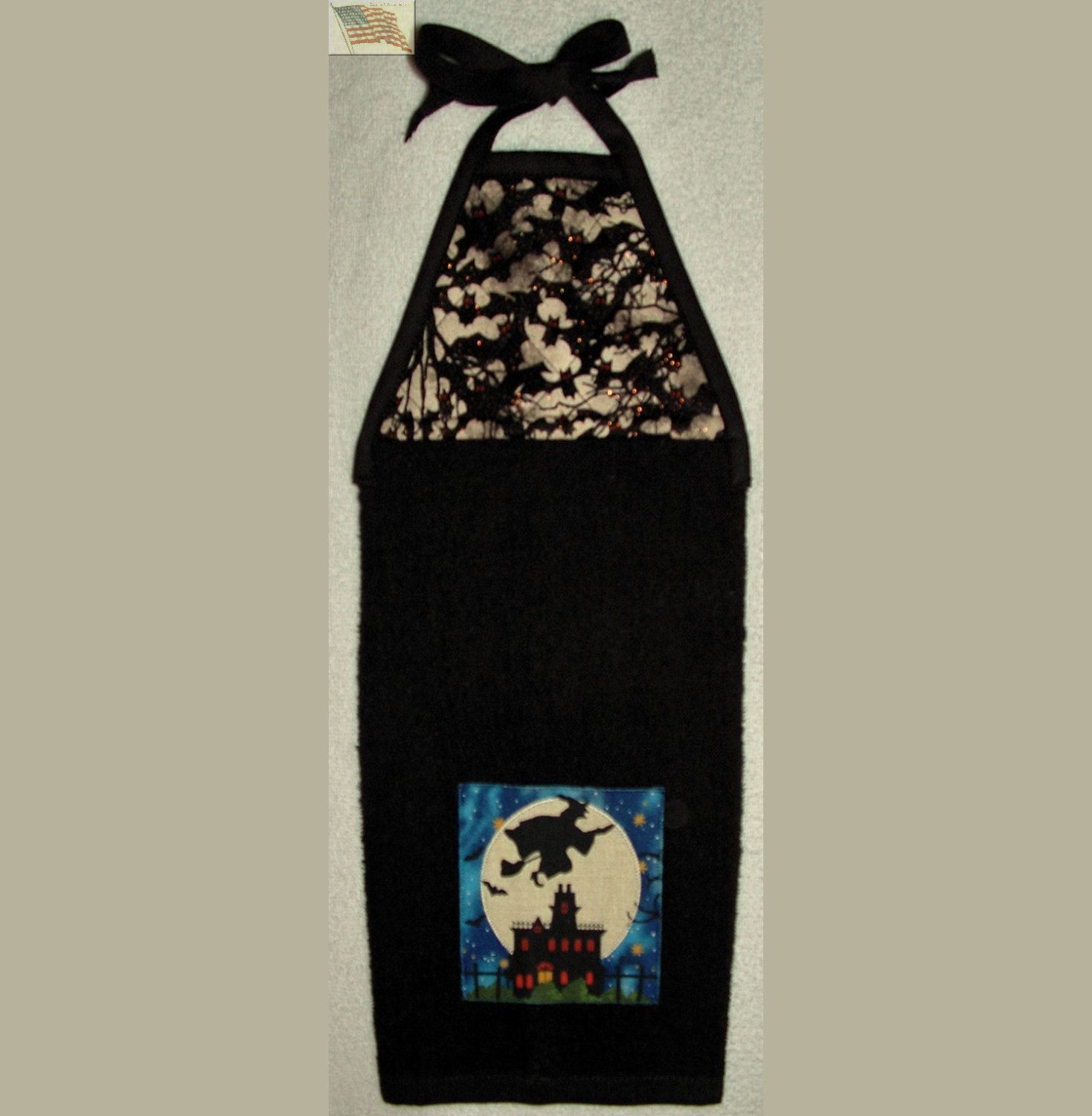 Kitchen Towel   Quilted Top With Ties   Witch/Broom  Appliqued By  CUTESTUFF1 On