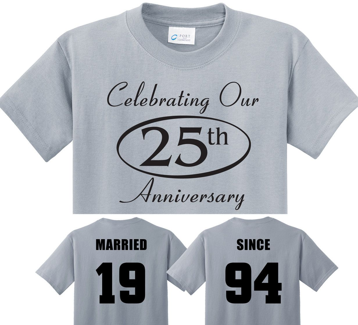 25th SILVER Anniversary gift in Silver Couples TShirts