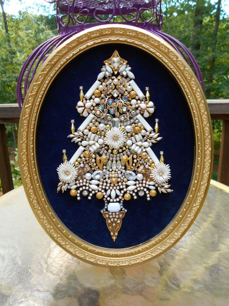 Vintage Rhinestone Jewelry Christmas Tree Framed  Art Milk Glass  13 x 10 #ArtByTamiRDean